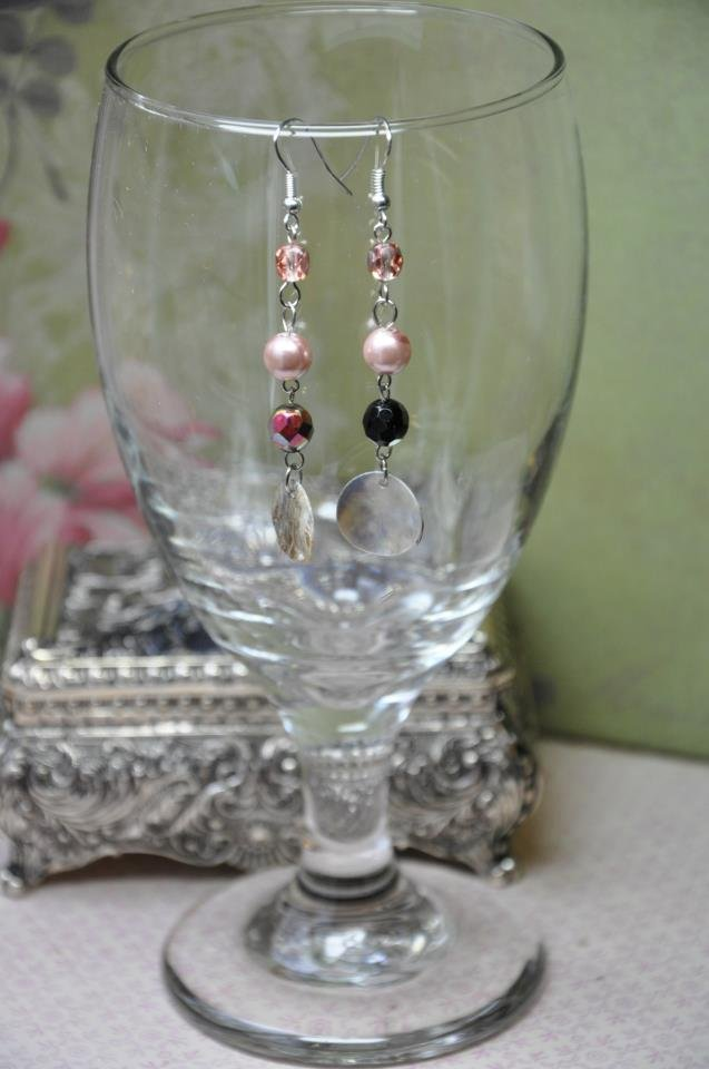 Faux Glass Pearl with Disc Bead Drop Earrings