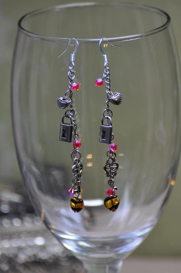 Heart and Key Charm Drop Bead Earrings