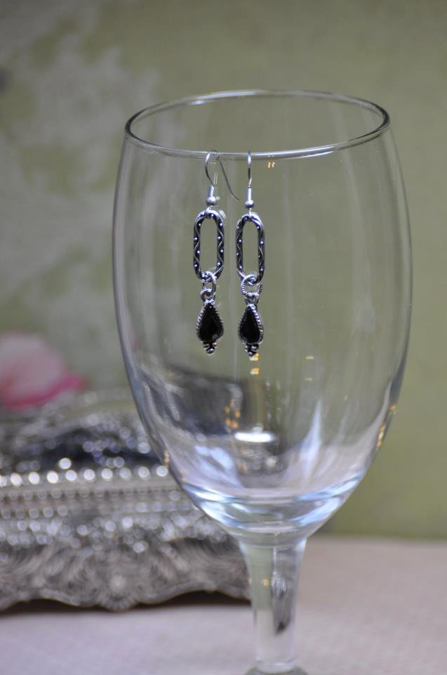 Black Charm Silver Hoop Earrings
