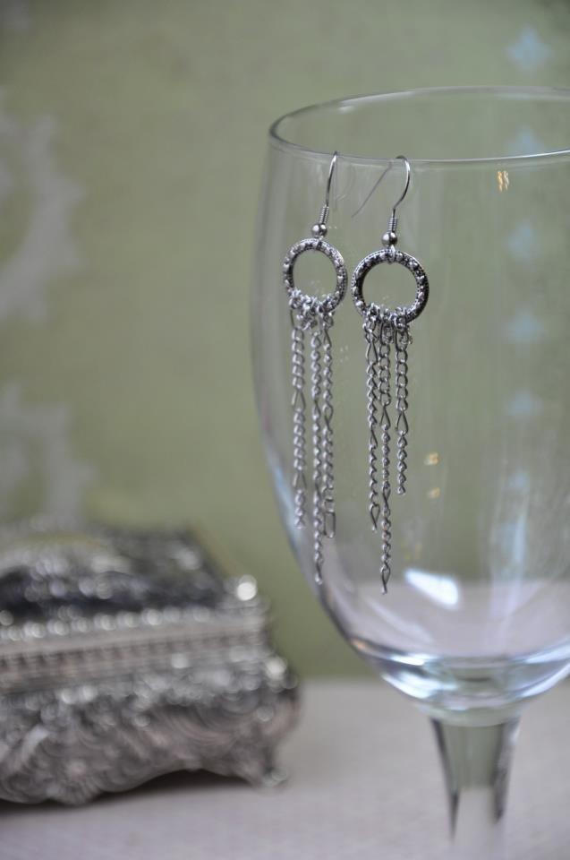 Silver Hoop Chain Dangle Earrings