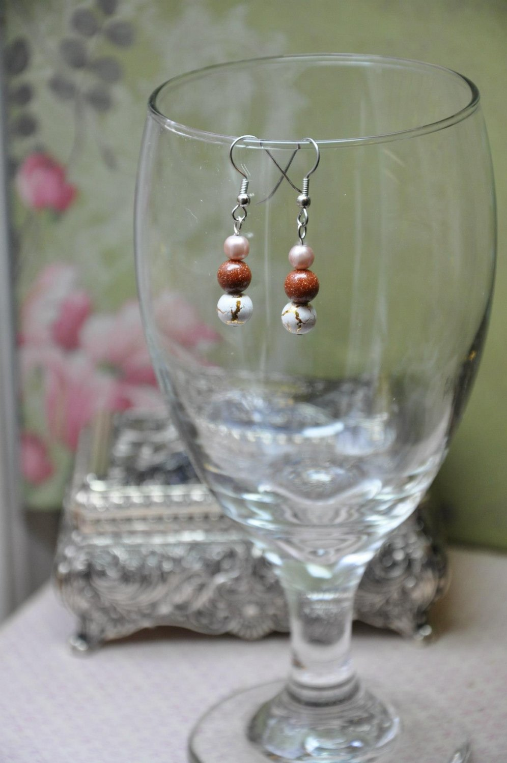 Tan and Brown Glass Pearl Earrings With Genuine Orange Moonstone Gemstones