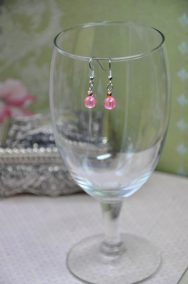 Simple Gold Bead Pink Dangle Earrings