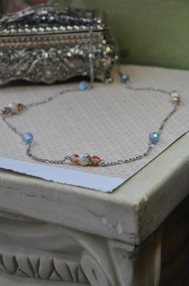 Blue and Gold Shimmer Chain Necklace