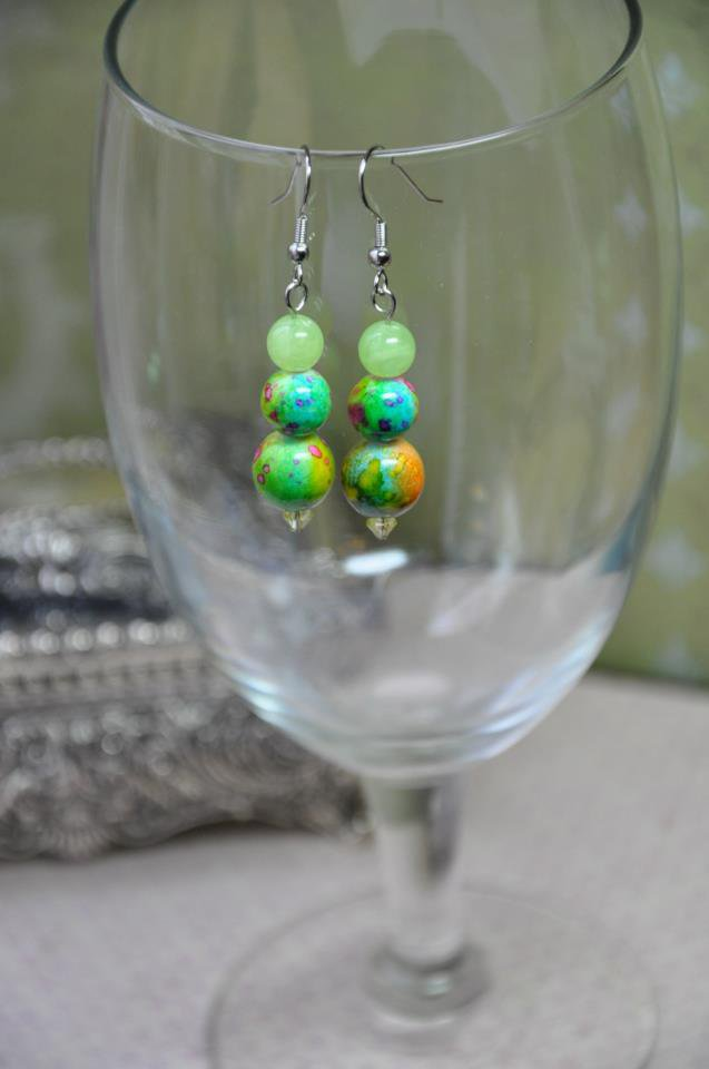 Green and Pink Drop Earrings
