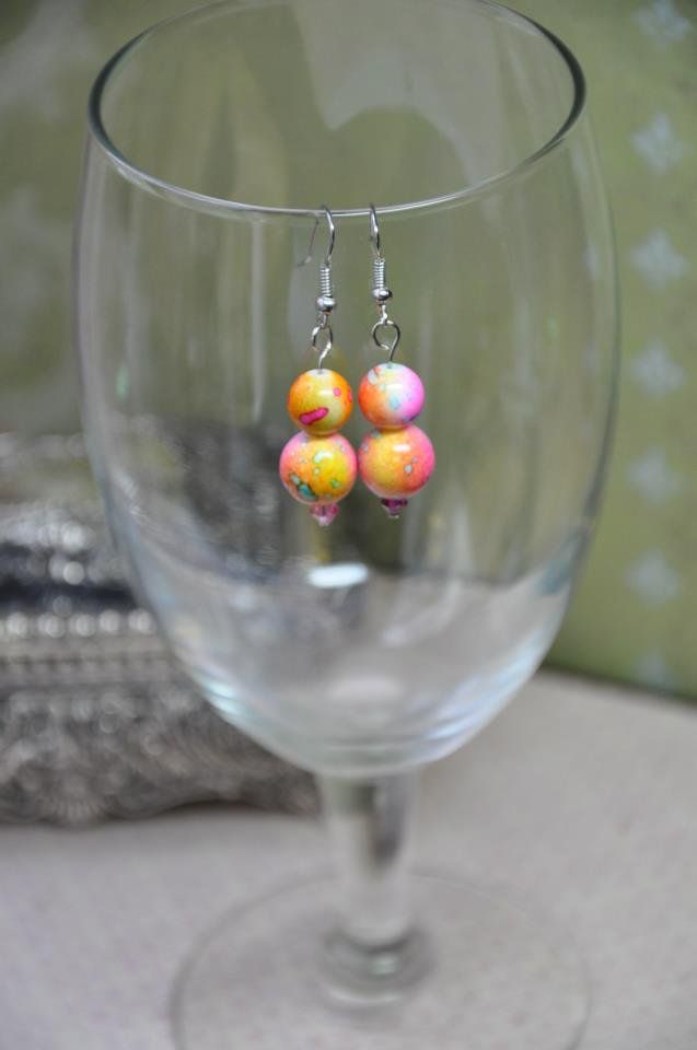 Pink and Yellow Tie Die Print Bead Drop Earrings
