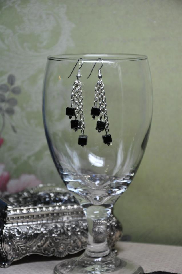 Black Cube Chain Bead Dangle Earrings Handmade