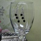 Black Cube Chain Bead Dangle Earrings Handmade