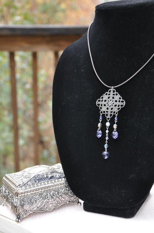 Swarovski Purple Pendant Heart Dangle Necklace