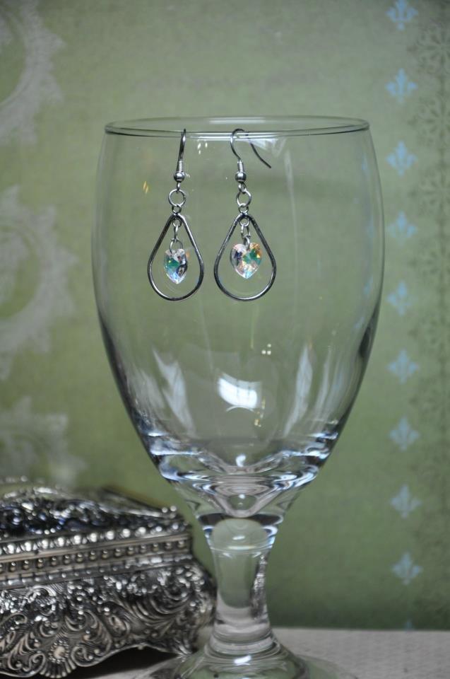 Swarovski Silver Heart Crystal Drop Earrings