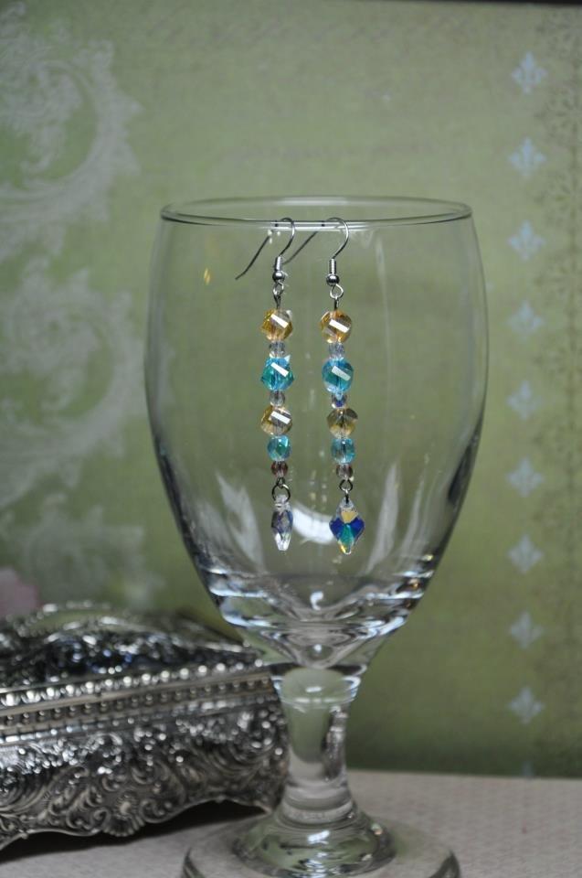 Aqua Blue Honey Glass Crystal Bead Drop Earrings