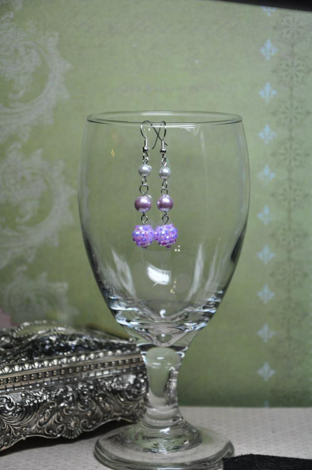 Lavender Pearl Glass Dangle Earrings