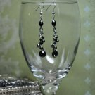 Liquid Black Bead Grey Crystal Drop Earrings