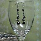 Liquid Black Bead Grey Crystal Drop Earrings