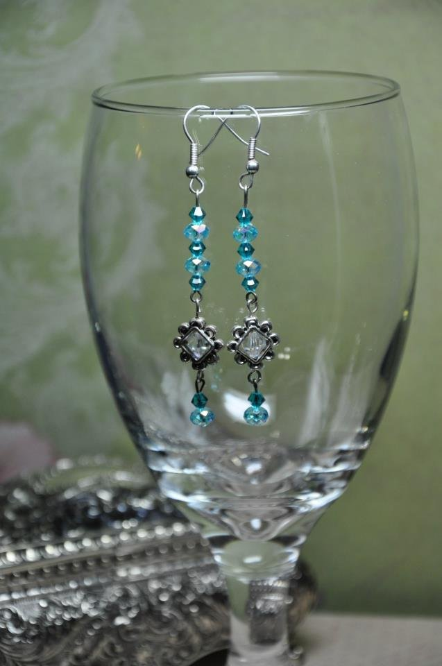 Teal Blue Crystal Drop Triangle Charm Earrings