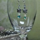 Silver Charm Butterfly Swarovski Crystal Dangle Earrings