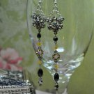 Sunflower Swarovski Crystals Drop Black Bead Earrings Handmade