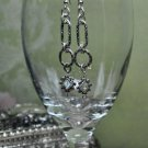 Unique Silver Hoop Chain Drop Bead Earrings
