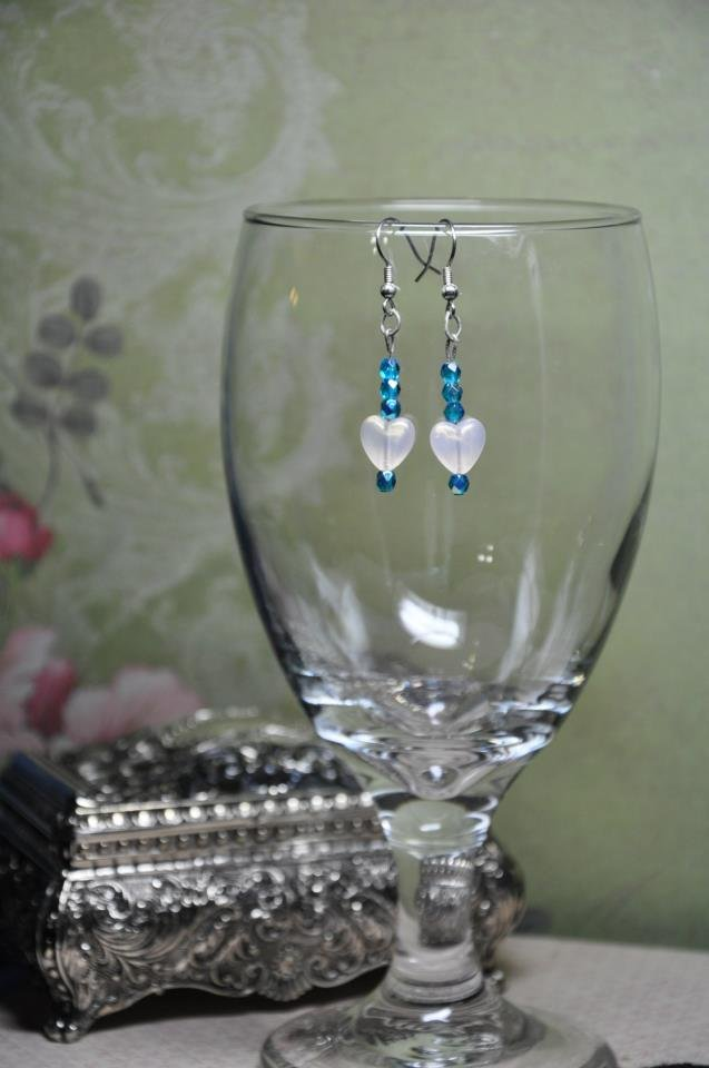 Unique Handcrafted White Heart Earrings w Blue Czech Faceted Glass Beads