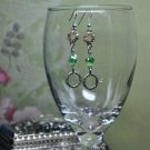 Green and Gold Round Swarovski Charm Crystal Drop Bead Earrings