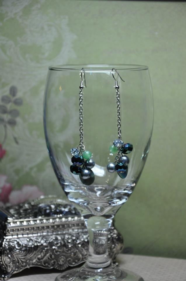 Green Swarovski Crystal On Silver Chain Cluster Bead Earrings