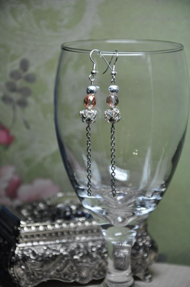 Gold and Grey Shimmer Chain Earrings