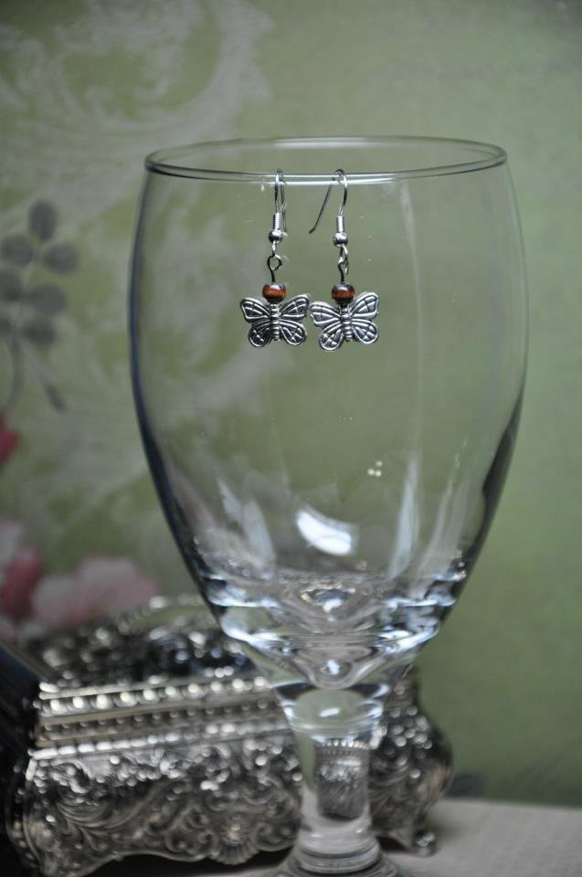 Silver Butterfly Charms With Wood Bead Drop Earrings