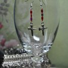 His Cross Red Silver Glass Bead Drop Earrings