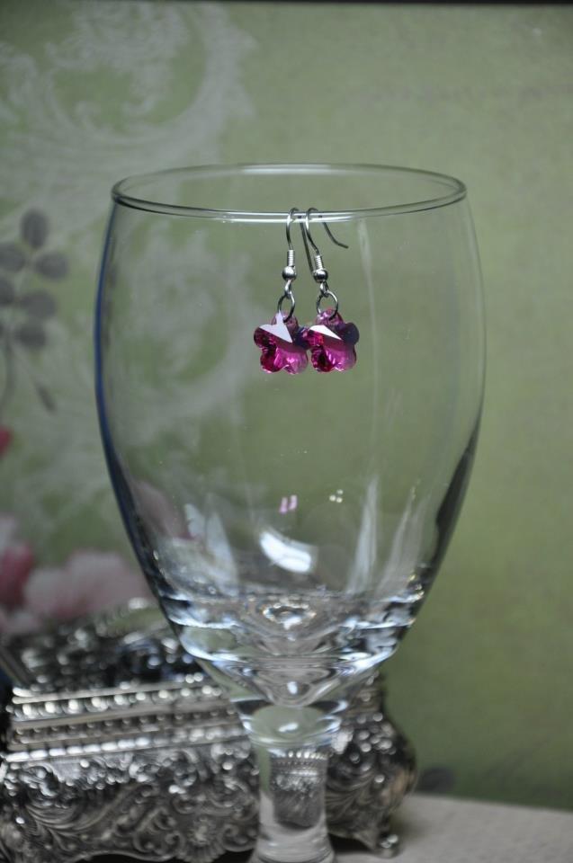 Fuschia Crystal Glass Flower Bead Dangle Earrings