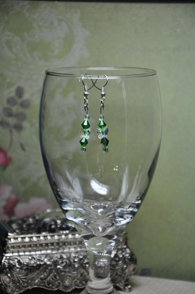 Unique Earrings Handmade w Green Swarovski Crystal Butterfly