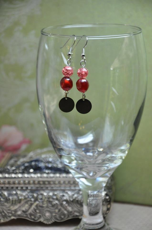 Shimmer Red and Bronze Earrings