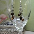 Brown Pearl Hearts On A Chain Drop Bead Earrings