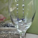 Purple and Grey Crystal Heart Drop Earrings
