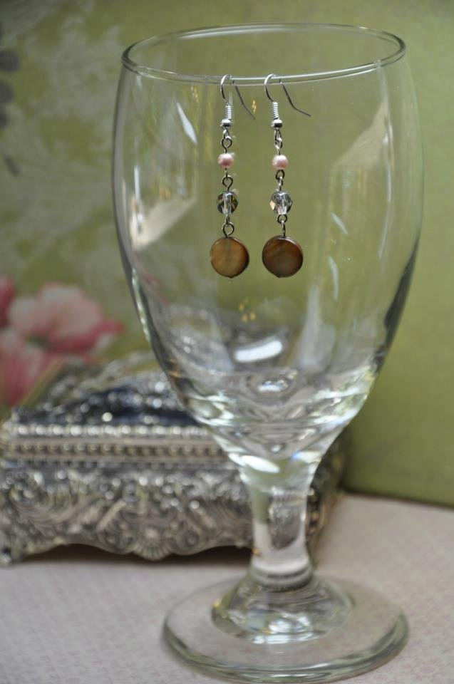 Silver Czech Glass Bead Earrings With Light Pink Pearls and Round Disc Beads