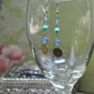 Blue Beads with Bronze Disc Drop Earrings