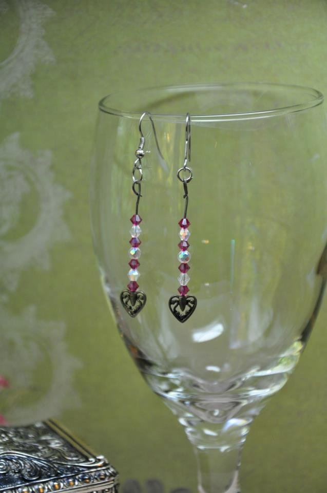Silver Charm Heart Pink Drop Bead Earrings With Swarovski Crystals