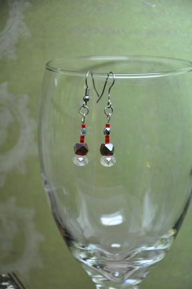 Unique Red Regal Crystal Drop Bead Earrings Handmade By Studio Artist