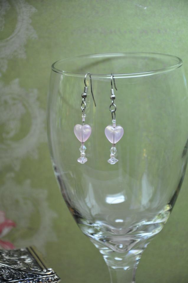 Unique Handmade Soft Pink Heart Drop Beaded Earrings