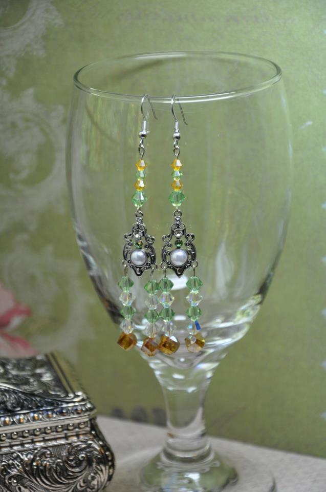 Unique Gold and Green Pearl Swarovski Chandelier Handmade Designer Earrings