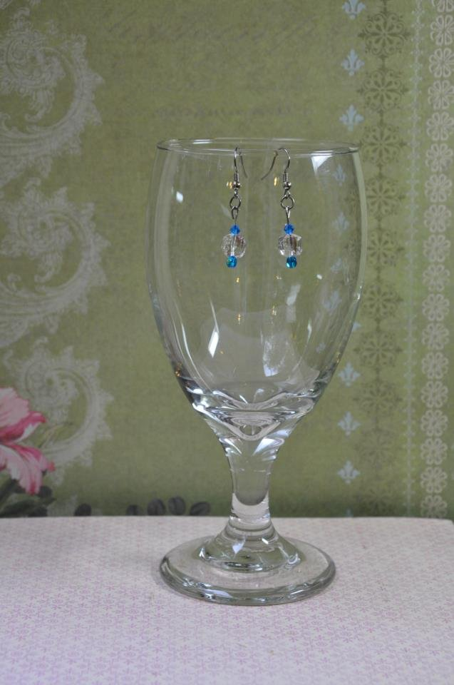 Crystal Swarovski Cube Earrings With Blue Czech Round Beads