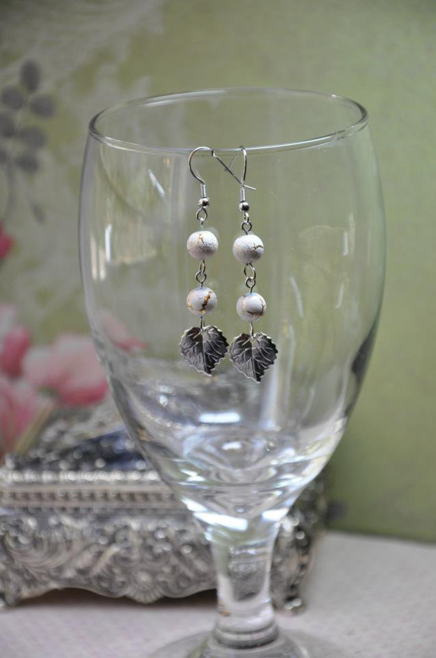 Silver Leaf Drop Earrings With White Gold Glass Beads