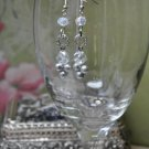 Silver Crystal Charm with White Glass Pearls Drop Bead Earrings