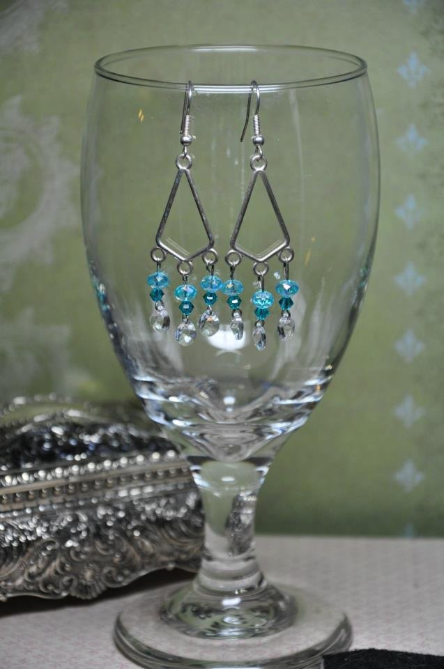 Teal Swarovski Crystal Blue Chandelier Earrings