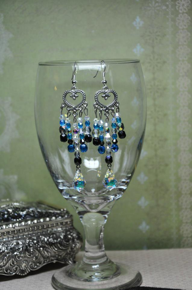 Unique Swarovski Crystals Black and Blue Heart Chandelier Handmade Earrings