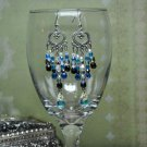 Unique Swarovski Crystals Black and Blue Heart Chandelier Handmade Earrings