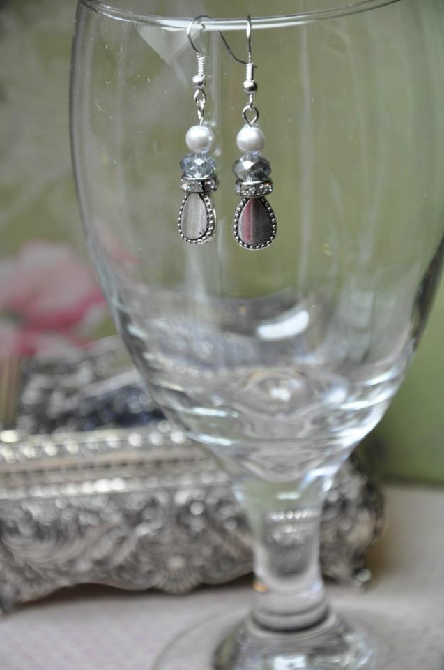Unique Pearl and Crystal Charm Teardrop Handmade Earrings
