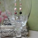 Black and Pink Tan Faux Glass Pearl Chip Earrings