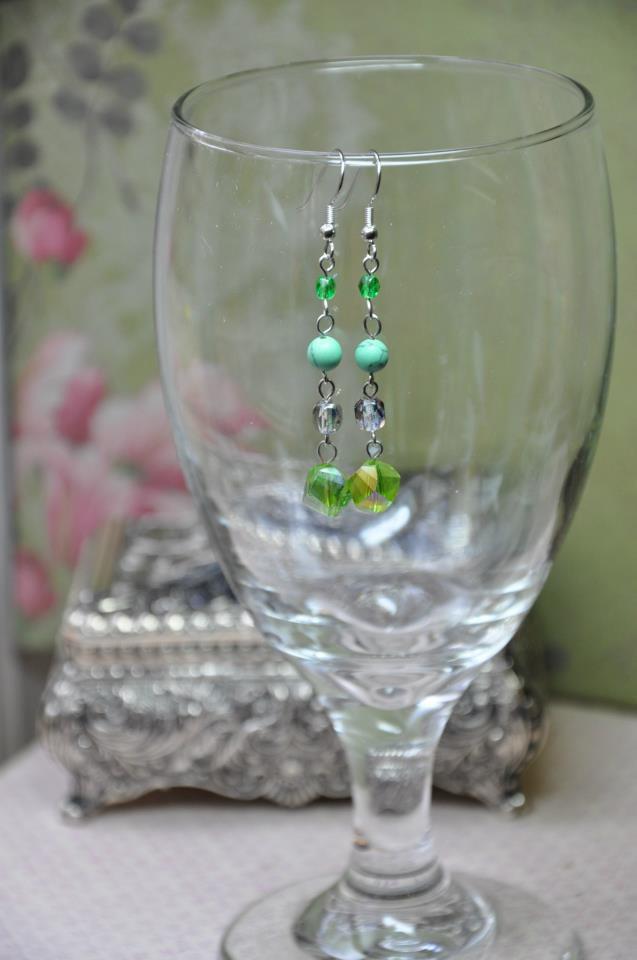Green Rock Crystal Earrings