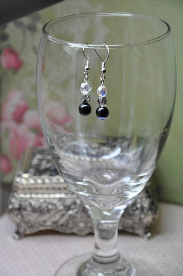 Black Crystal Silver Drop Bead Earrings
