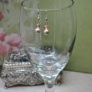 Tan Faux Glass Pearl Drop Bead Earrings