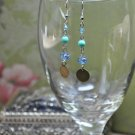 Swarovski Bicone Crystal Teal and Blue Drop Disc Earrings